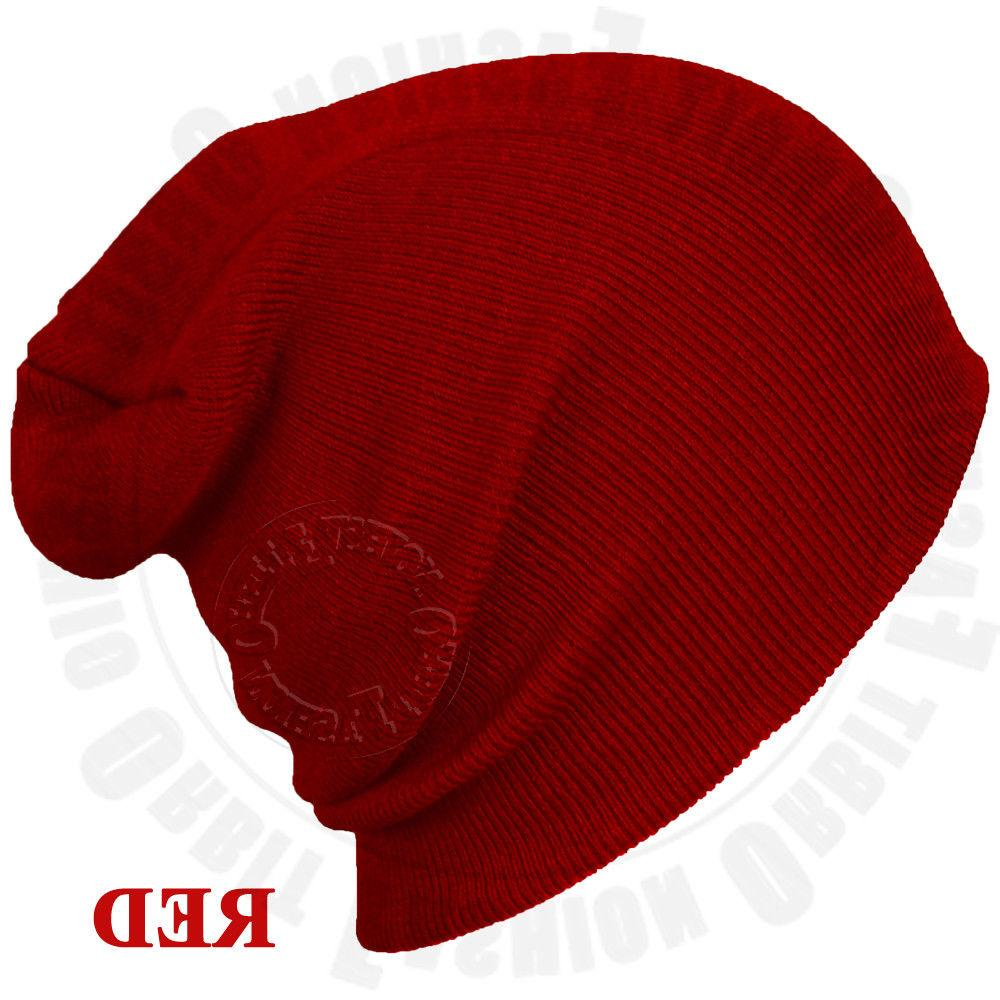 Beanie Plain Knit Winter Slouchy Hats Men