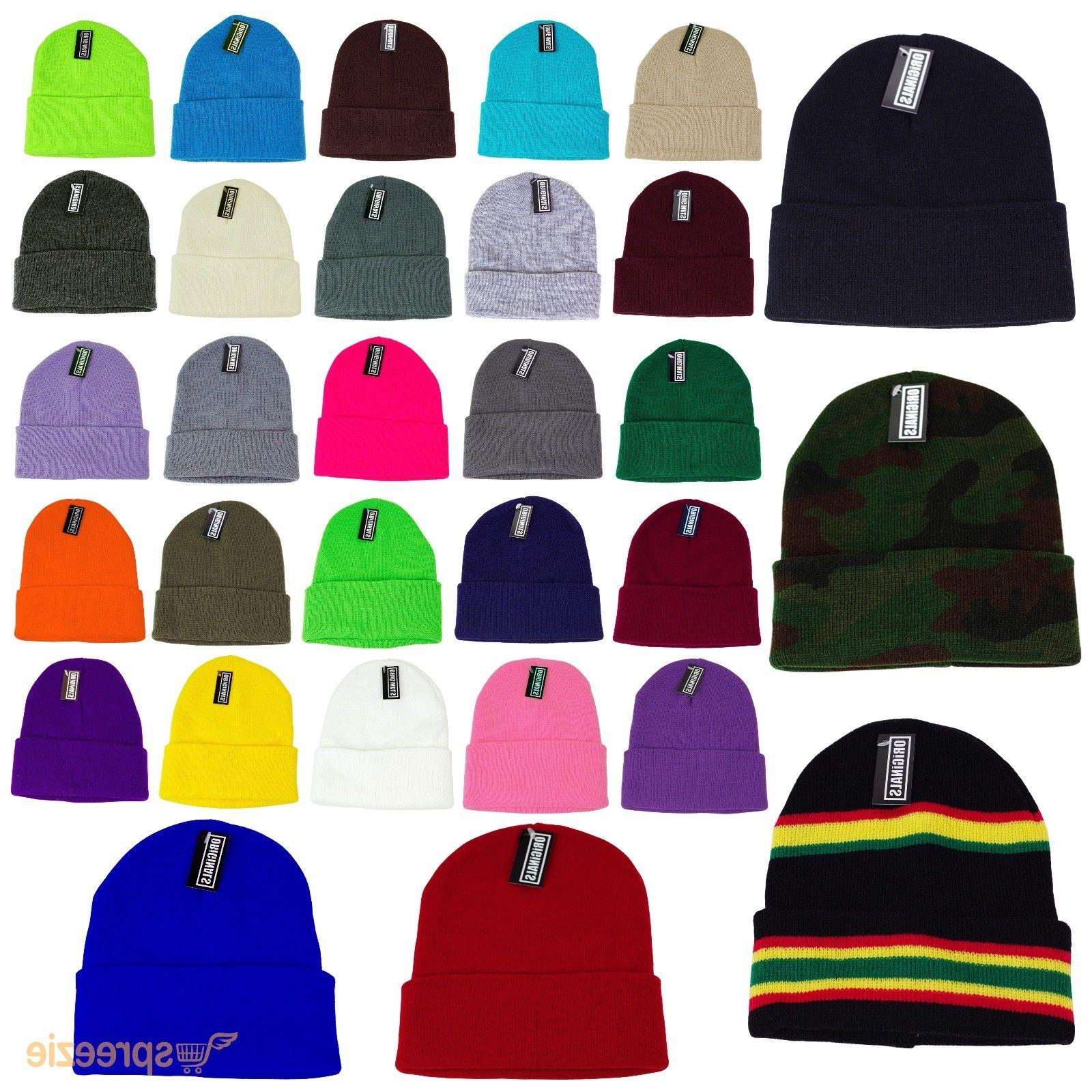 62353e45066ab8 Beanie Plain Knit Ski Hat Skull Cap Cuff Warm Winter Blank C