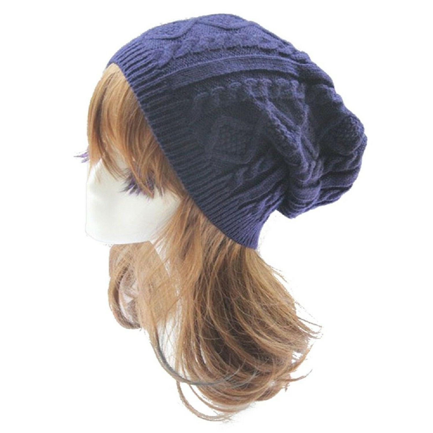 Black Knit Slouchy Hats Caps Accessories
