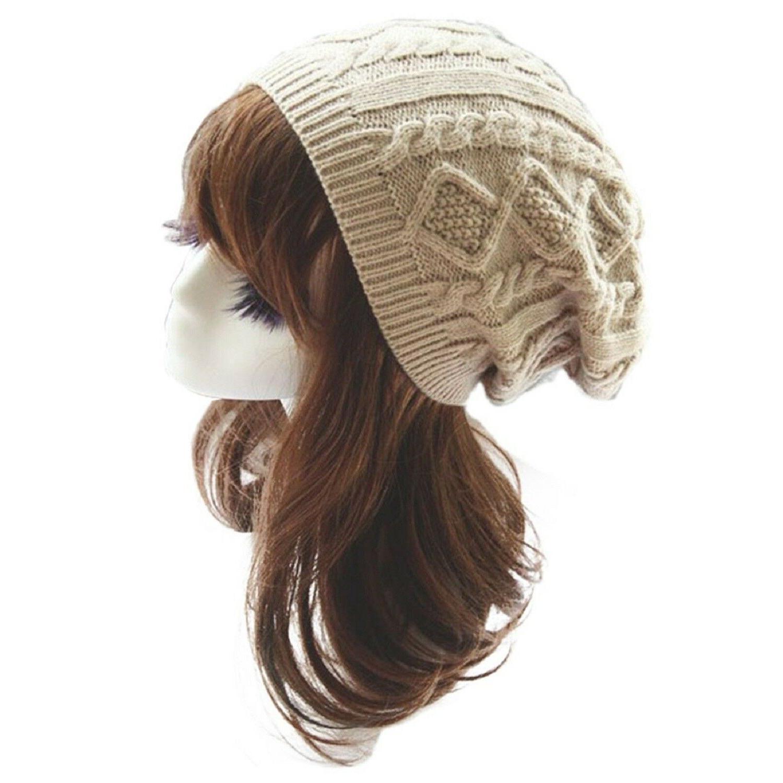 Black Womens Knit Slouchy Beanie Accessories Sale