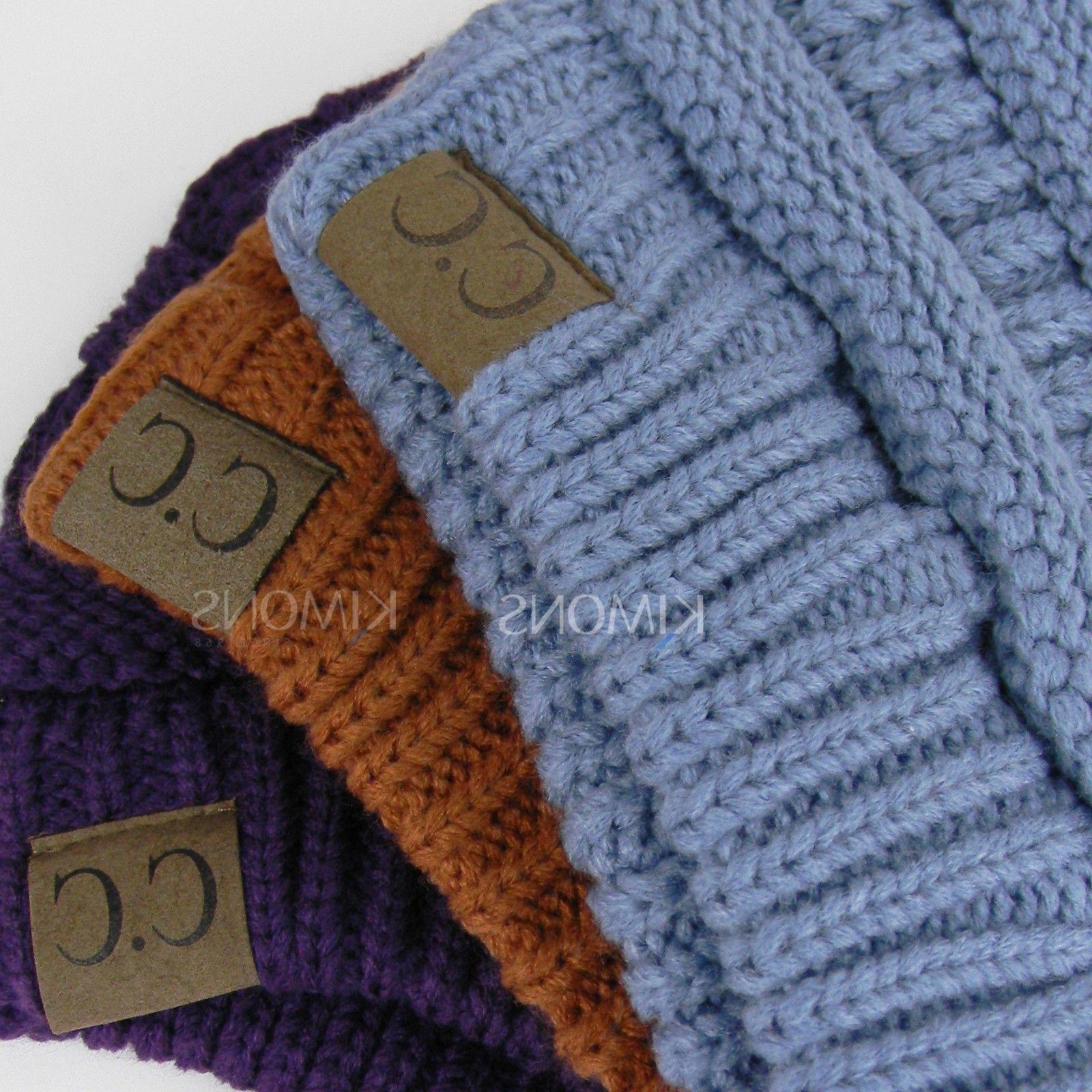 Bubble Knit Slouchy CC Baggy Beanie Oversize Winter Hat Ski