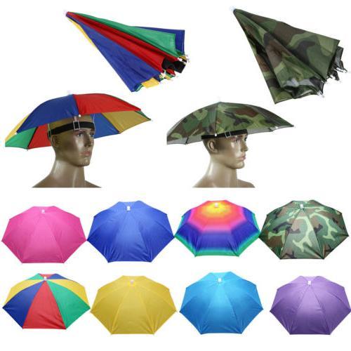 Mens Womens Umbrella Hat Sun Headband Camping Headwear Folds