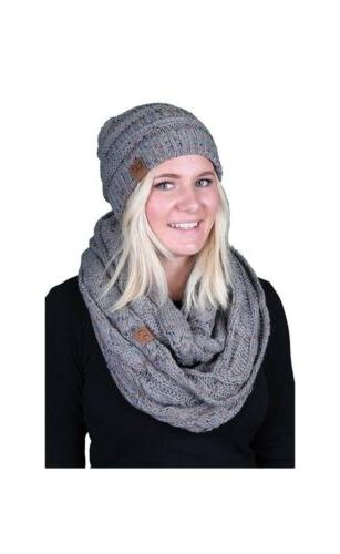 c c womens infinity scarf and pom