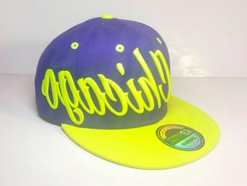 KBETHOS Chicago Snapback Purple And Green Hat Bright Vibrant