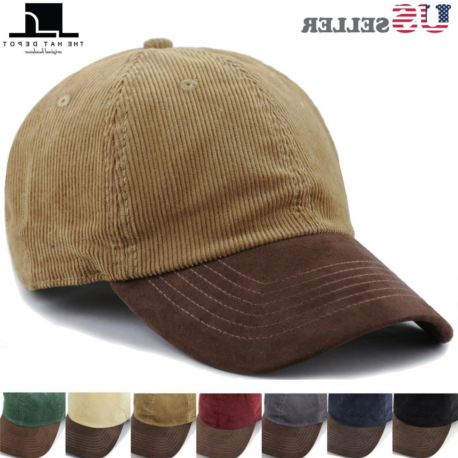 THE HAT DEPOT Cotton Corduroy Suede Visor Adjustable Unstruc