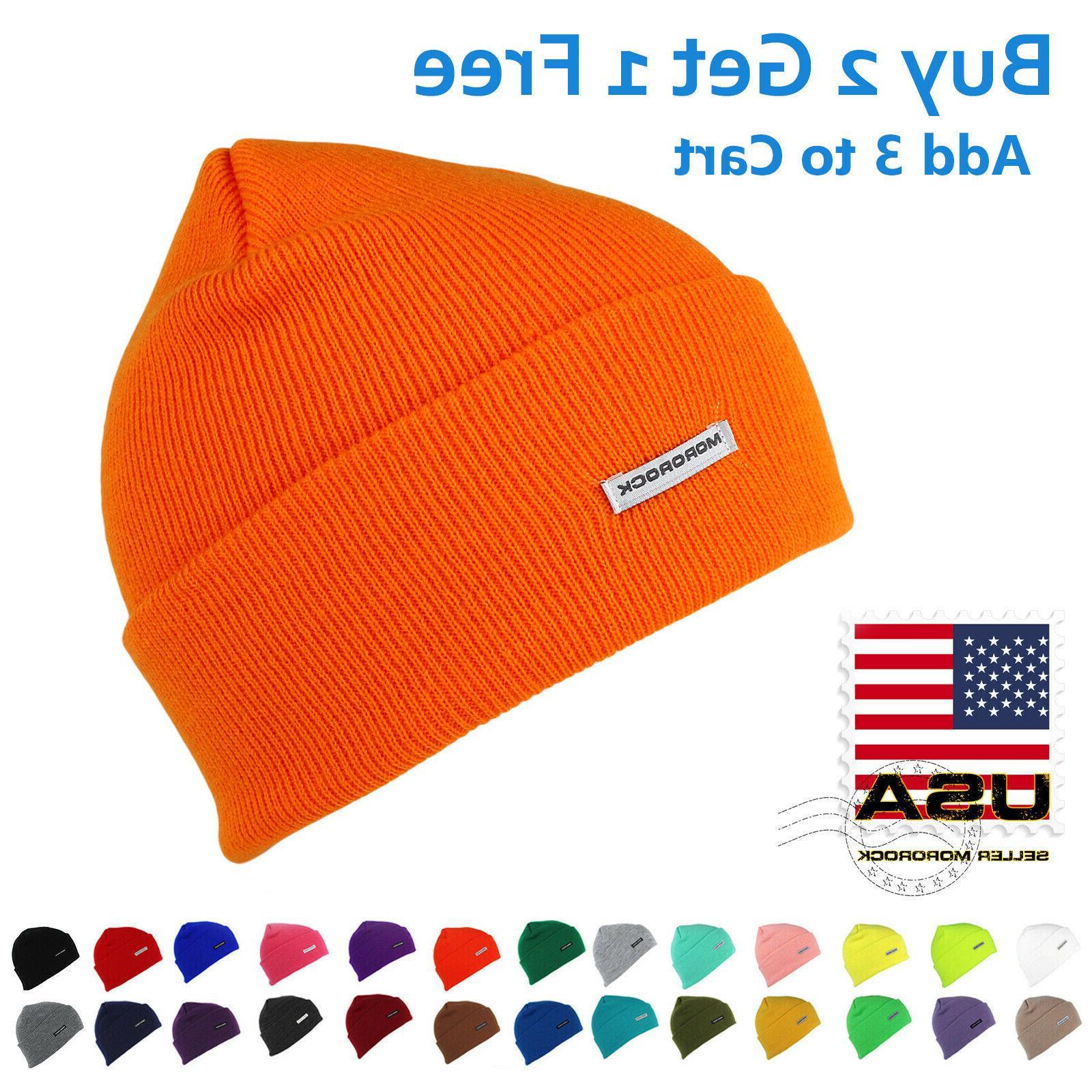 cuff beanie hat men women acrylic plain