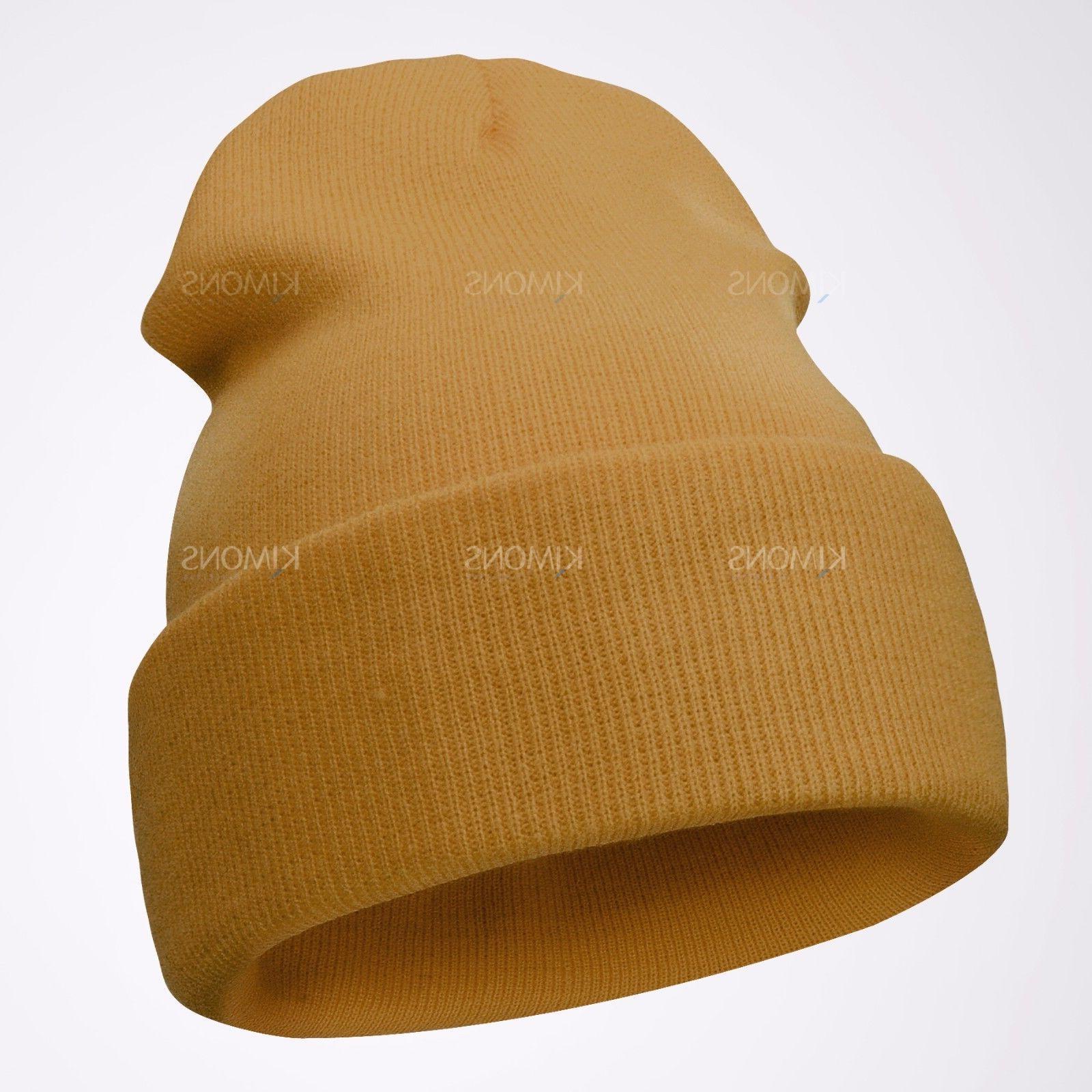 Cuff Beanie Knit Hat Skull Ski Women Plain