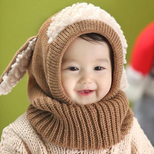 Cute Baby Boys Warm Hat Beanie Hooded Scarf Earflap Cap