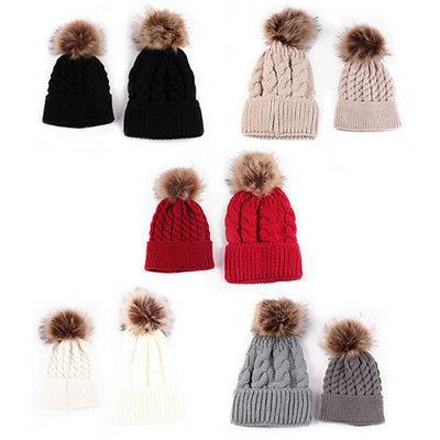 Cute Kids Baby Boys Girls Mom Hat Set Knitted Winter Warm Ha