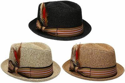 fedora pork pie straw hat w striped