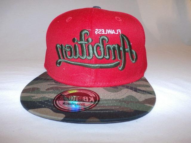 Flawless Ambition Men's KBETHOS Snapback Cap Hat Red OSFA Ne