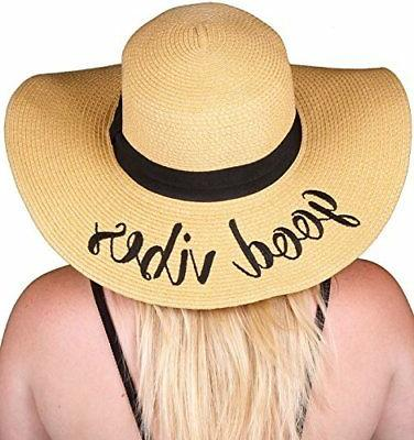 H-2017-GV Funky Junque Embroidered Sun Hat Good Vibes Hats W