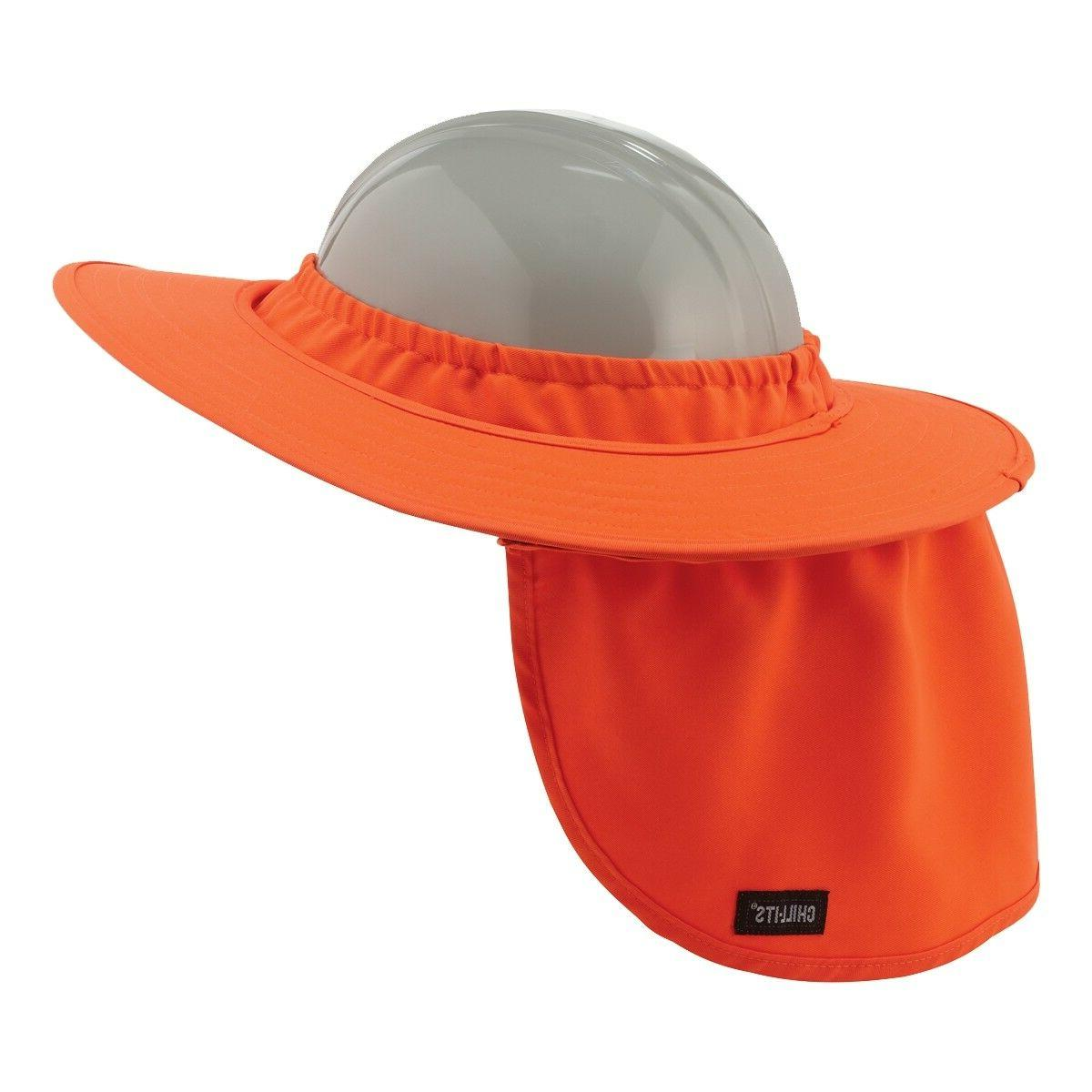 Full Brim Hard Hat Sun Shade Neck Shield, Hi-Vis Green