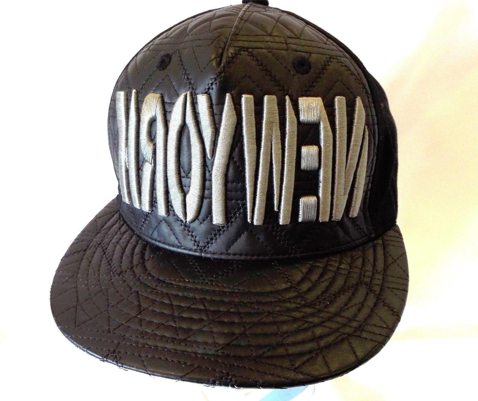 KBETHOS NewYork Snapback Mens Hat Black Pleather with silver