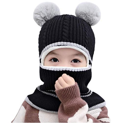 Kid Winter Hats Knitted Scarf Earflap Beanie Fleece Caps Boys