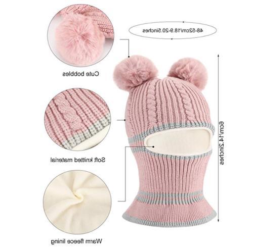 Kid Winter Cozy Knitted Scarf Earflap Beanie Fleece for Boys