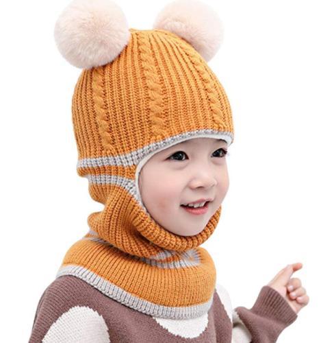 Kid Knitted Scarf Earflap Beanie Fleece for Girls Boys