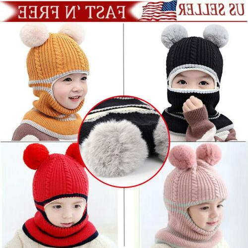 kid winter hats cozy knitted scarf earflap