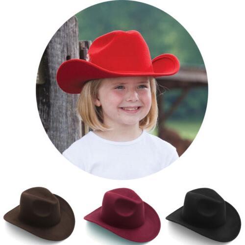 Kids Children Boys Panama Hats Cowboy Western Caps Wide Brim