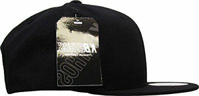 KNW BLK Cotton Snapback Solid Blank Baseball Hat Flat Brim Mens