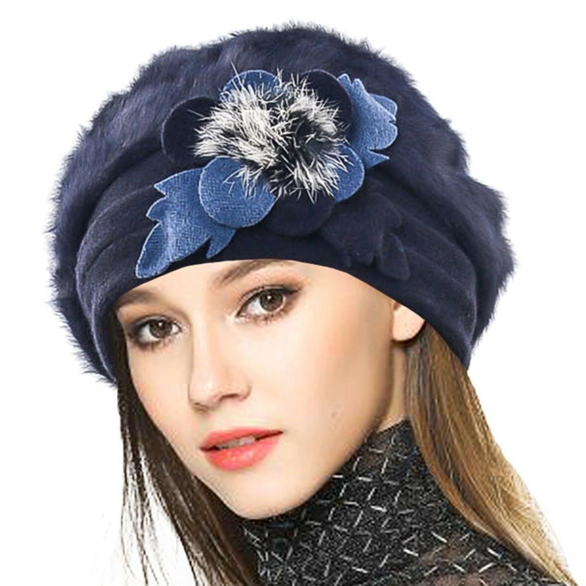 100% Beret Floral Dress Beanie Winter Genuine