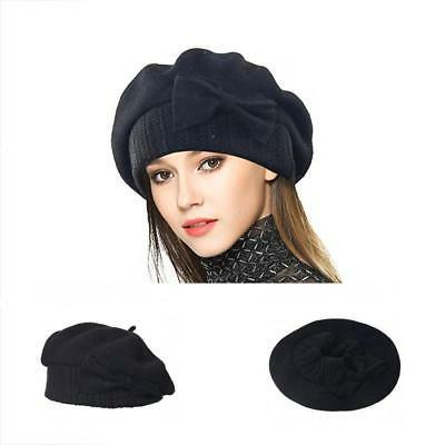 VECRY Lady French Beret 100% Wool Floral Dress Beanie Winter