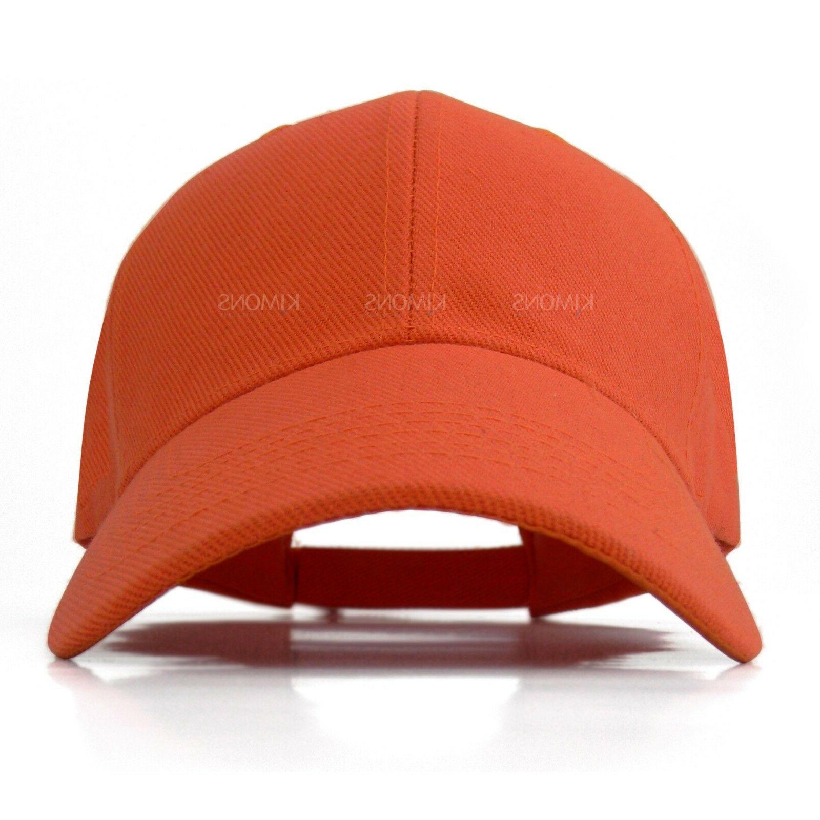 Hook-N-Loop Plain Baseball Solid Blank Hat Adjustable Men Women