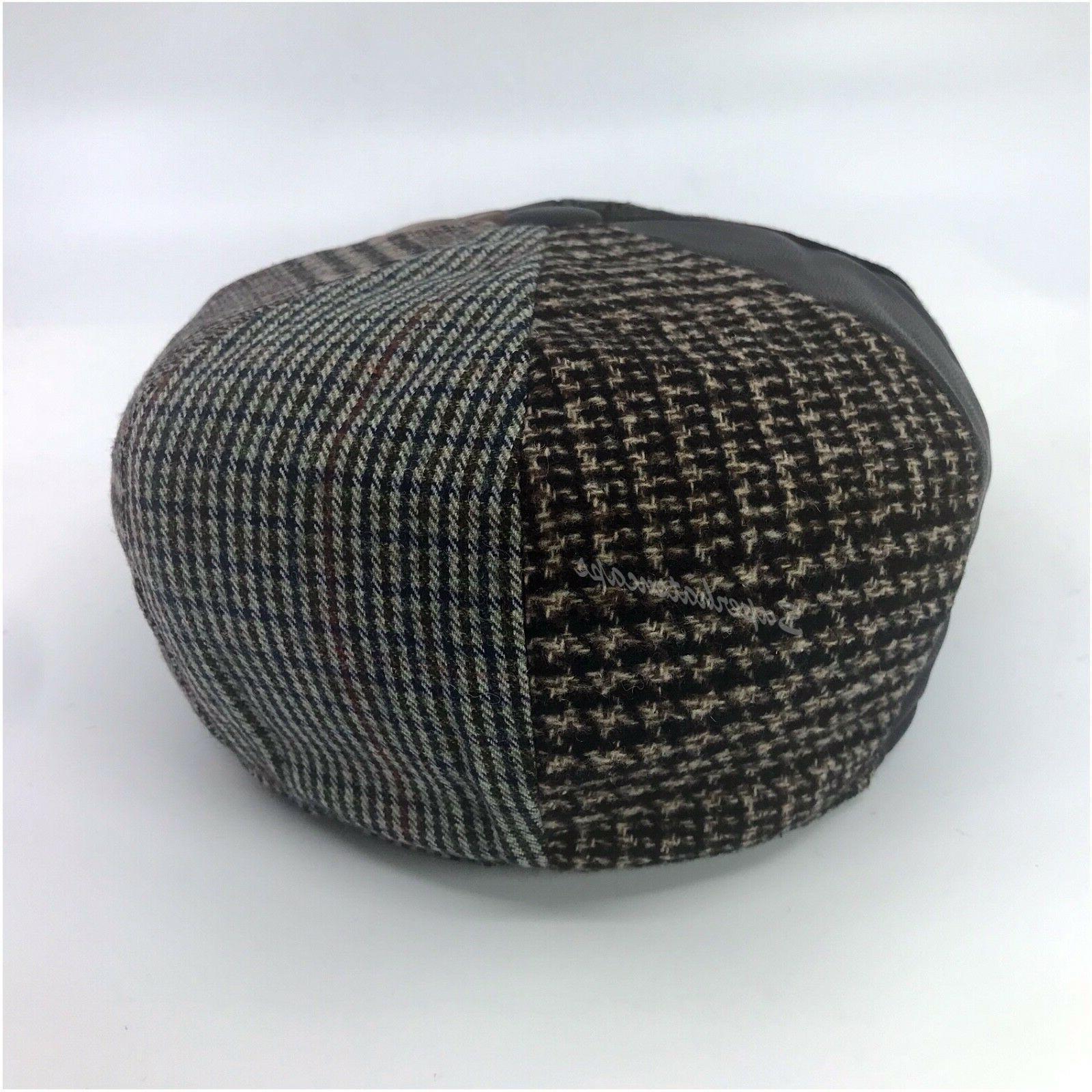Men's Cabbie Newsboy Jack Ascot Plaid Patch Wool Hat