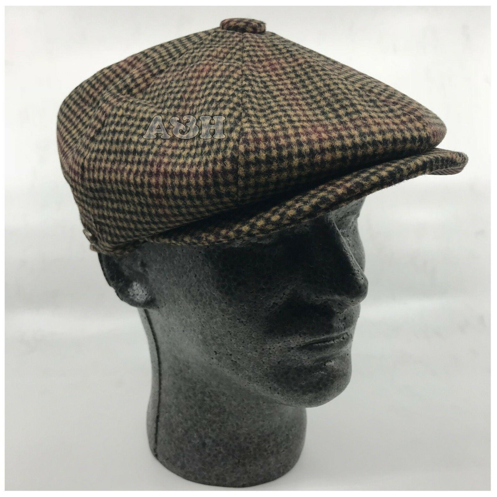 Men's Classic 8Panel 100% Wool Blend Newsboy Snap Brim Hound