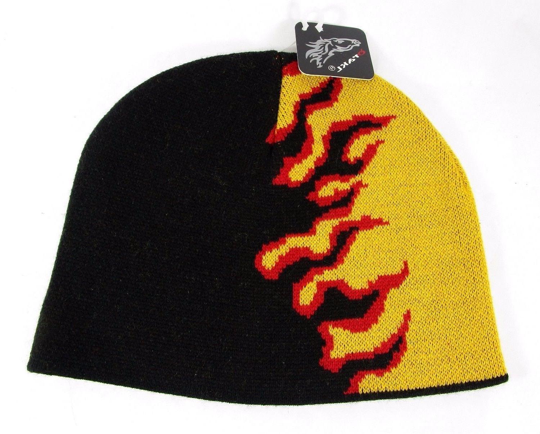 Men's Flame Beanie Knit Hat Qrakl Epoch Headwear USA Fire Ho