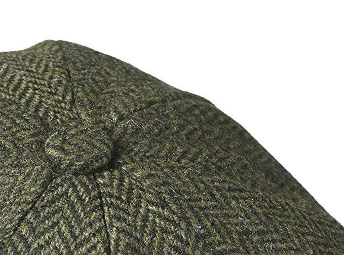 Men's Herringbone Cap Tweed 8 Olive NS2746
