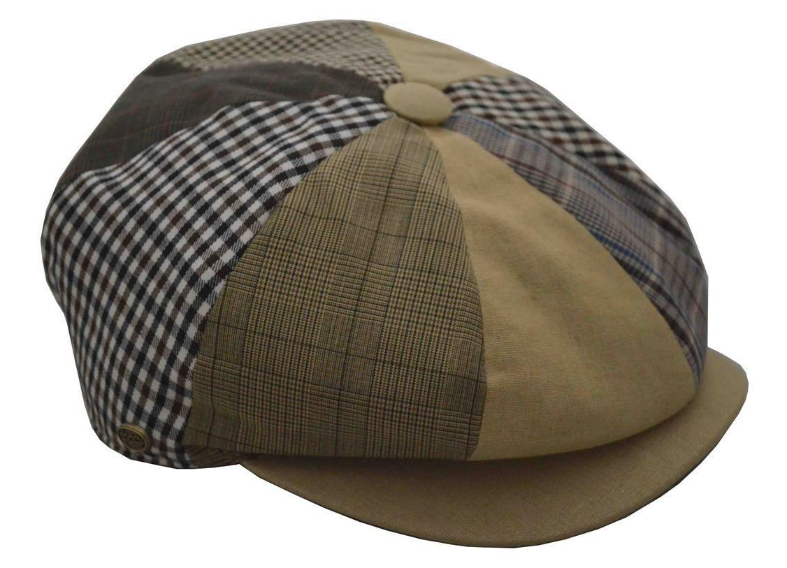men s patchwork plaid apple cap newsboy