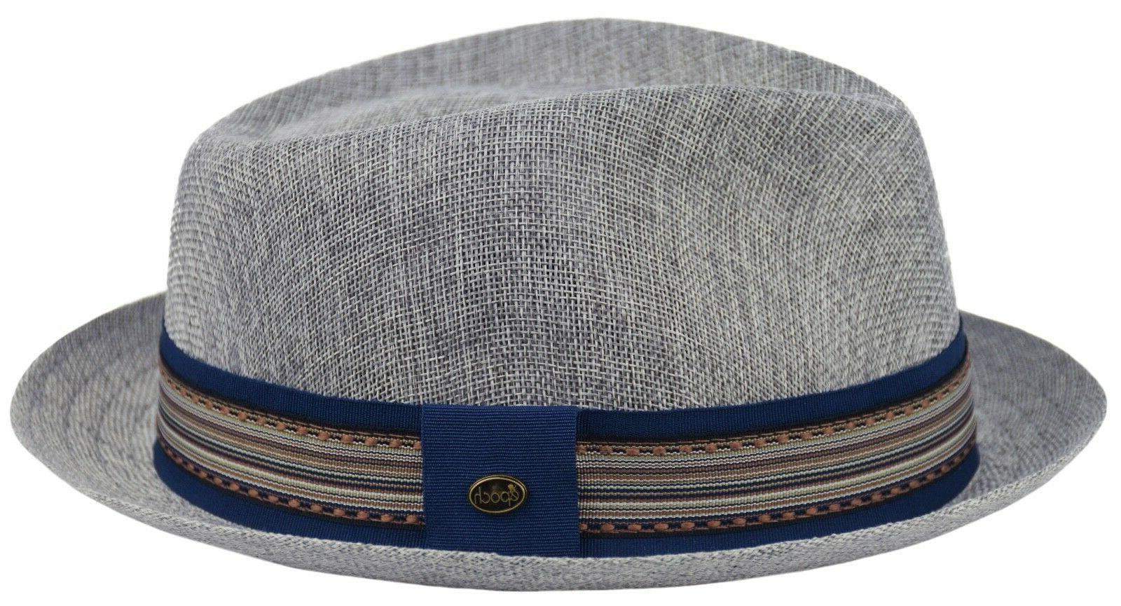Men's Summer Linen Derby Fedora, Breathable, Tribal Stingy Brim Hat Gray F2805