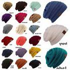 Men Women Plain CC Beanie Cap Slouch Bubble Knit Winter Ski