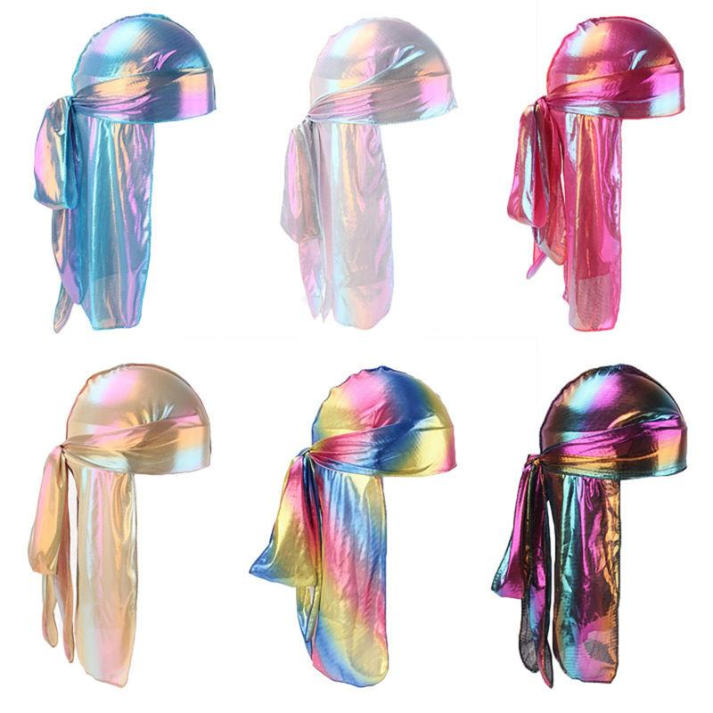 Men Women Silk Laser Polyester Bandana Hat Durag Rag Tail Wr
