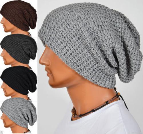 Men Women Warm Oversize Beanie Skull Baggy Cap Winter Slouch