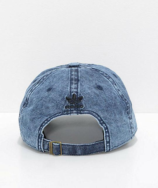 Adidas Washed Blue Black Strapback Hat Cap