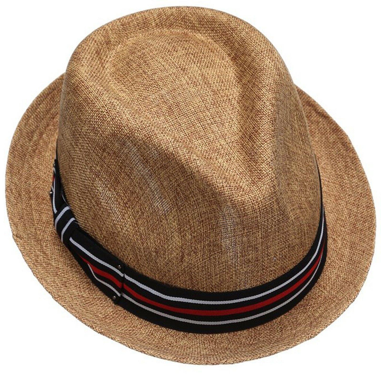 Mens Fedora Hat Stingy Brim Porkpie Dress Hat Brown EPf2261