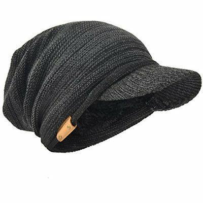 mens womens thick fleece lined knit newsboy