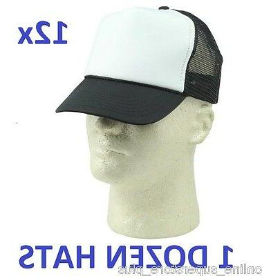 NEW 1 DOZEN Poly-Foam Trucker Caps Adjustable Black and Whit