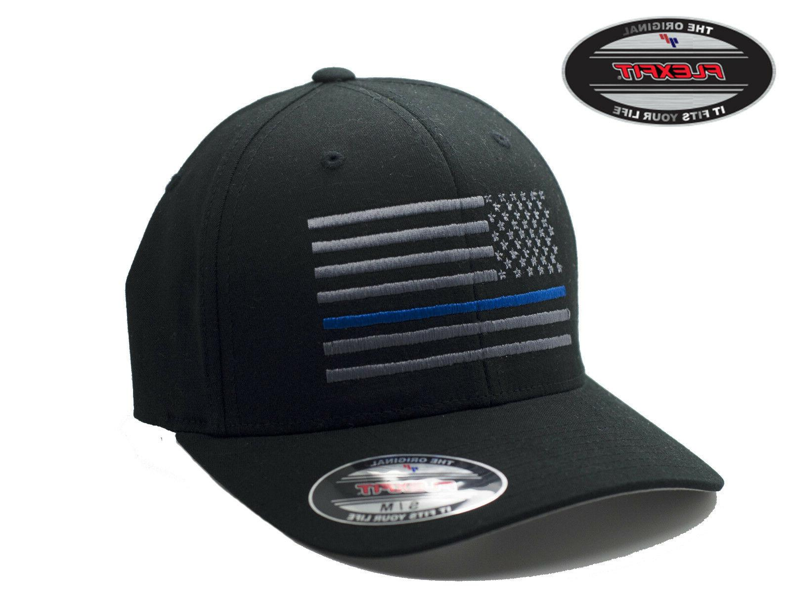 NEW American Thin Blue Line Flag FlexFit # 5001 Black Hat -