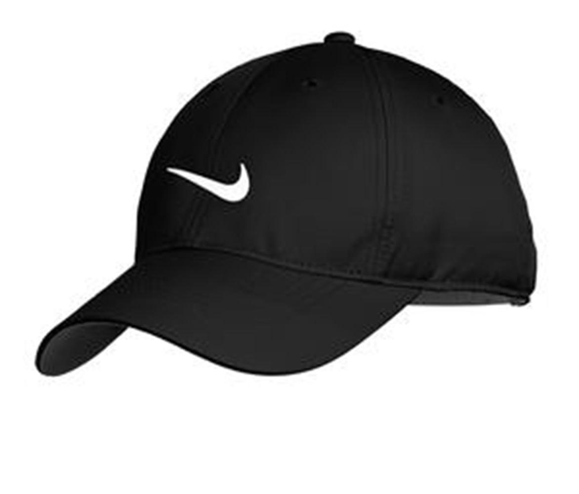 NEW NIKE HAT-BLACK WITH WHITE SWOOSH-DRI-FIT-BASEBALL CAP-AD