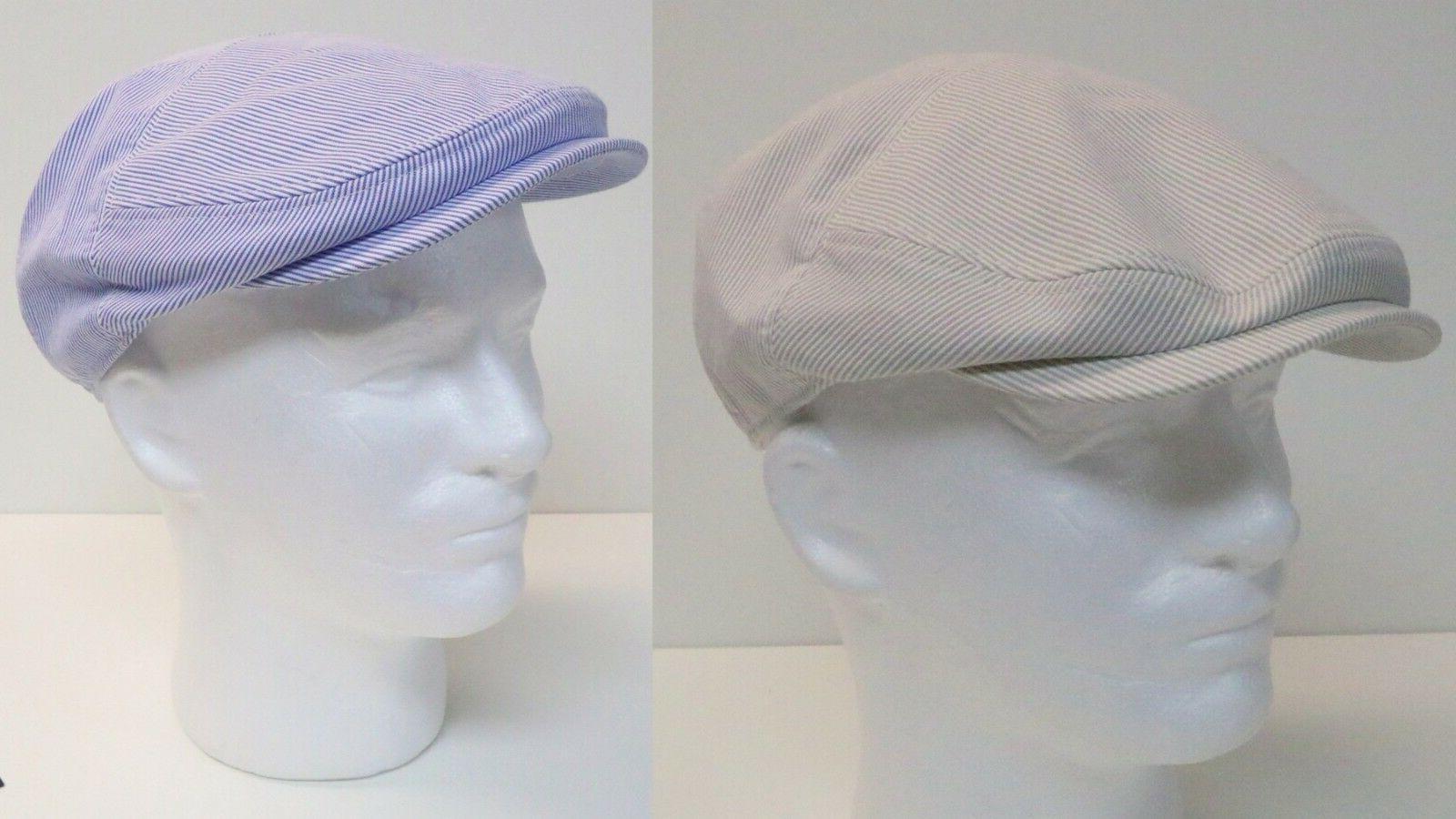 HENSCHEL NEW SHAPE IVY MEN'S PINSTRIPE HAT NEWSBOY CAP 100%
