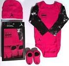 Nike Air Jordan Pink Infant Newborn 3 Piece Set Bodysuit Hat
