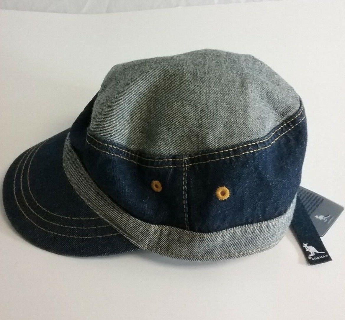 "NWT KANGOL ""DENIM ARMY CAP"" Men's Army Style Hat Cap M"