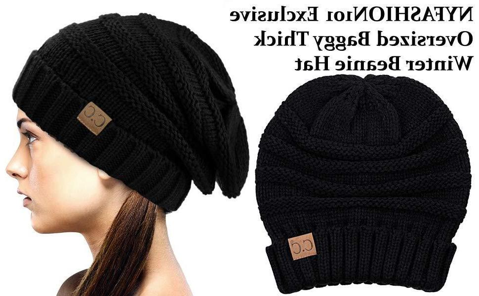 NYFASHION101 Oversized Baggy Slouchy Thick Winter Beanie Hat