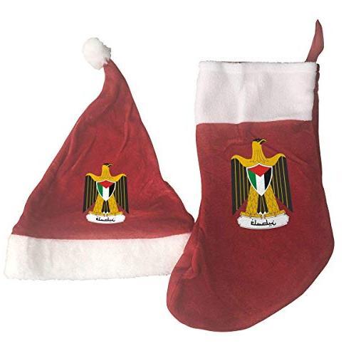 palestine national emblem santa hat and christmas