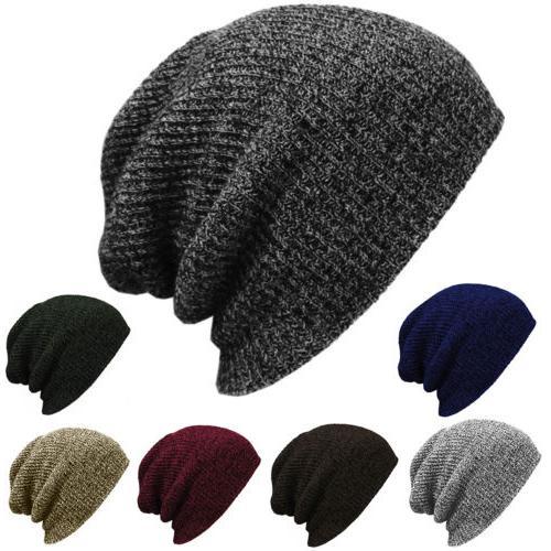 Plain Beanie Knit Hat Mens Women's Winter Warm Cap Slouchy S