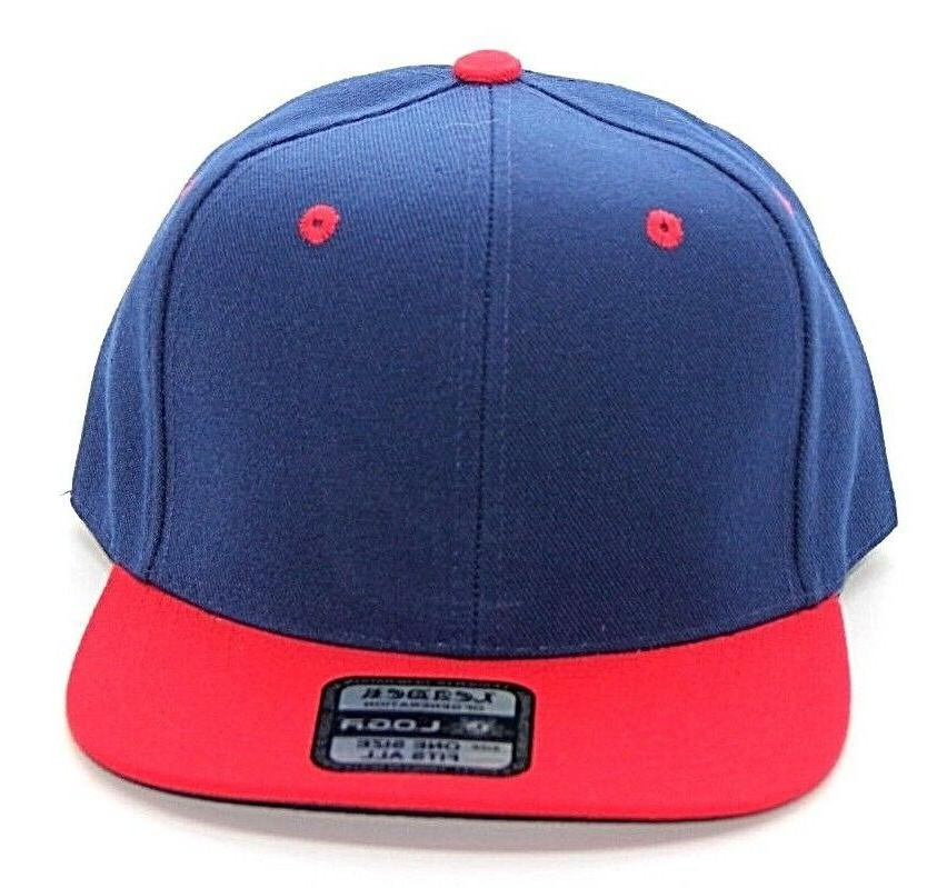 PLAIN SNAPBACK HAT COLOR NAVY RED POLYESTER ALL