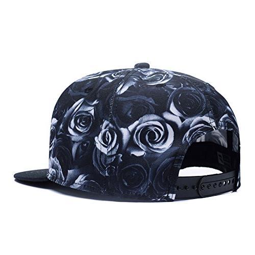 Premium Floral Rose Twill Snapback Hat Hip-Hop Peaked Baseball